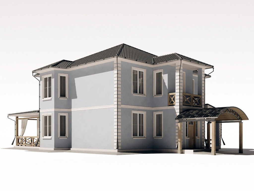 3D model two-storey residential building large