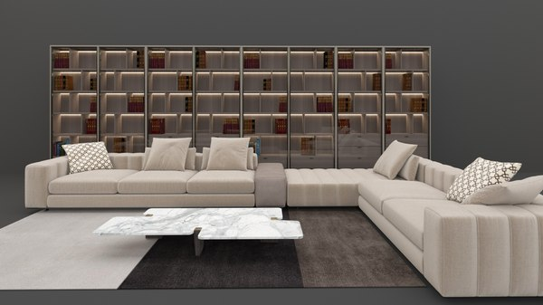 Minotti Sofa Library Model Turbosquid