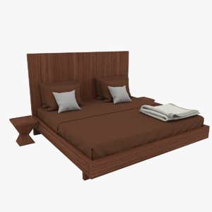 wooden double bed 3D