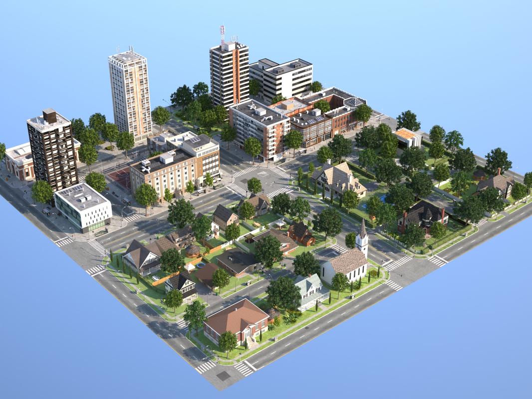 town suburb 3d max