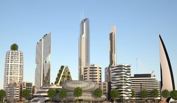3D belfort city buildings