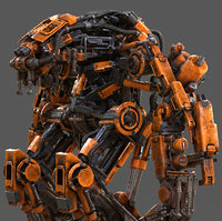 Pneumatic Robot Realistic 3D Model