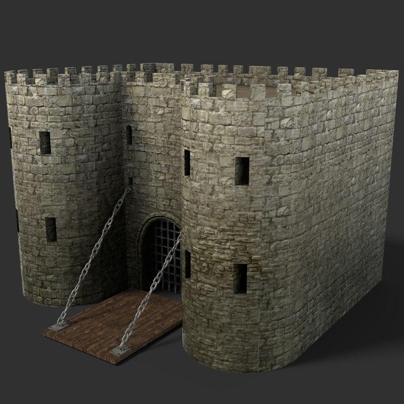 3D blender gate medieval model