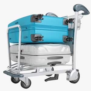 3D airport luggage trolley