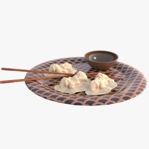 3D dumpling food