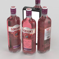 3D gin alcohol bottle