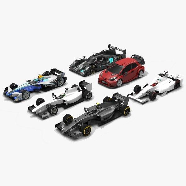 pack generic cars race 3D model