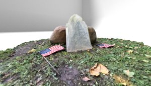 3D gravestone rock american flag