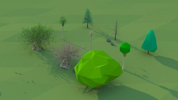 kinds trees scene 3D