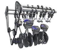 rigged v6 engine cylinders 3D model
