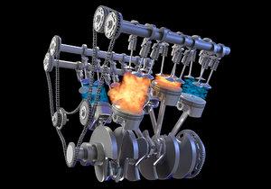 3D v6 engine gasoline ignition model