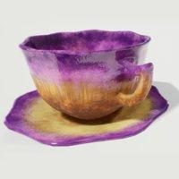 Teacup and Saucer Purple Glazed