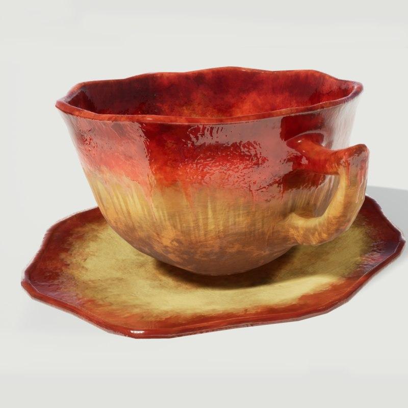 glazed tea cup saucer 3D