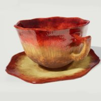 Teacup and Saucer Red Glazed