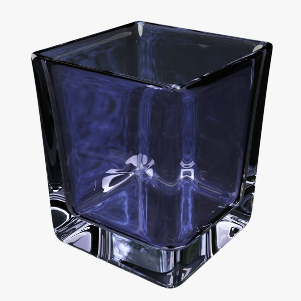 highball glass square blue 3D