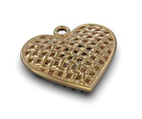 3D wicker heart pendant model