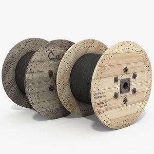 3D wooden cables reels