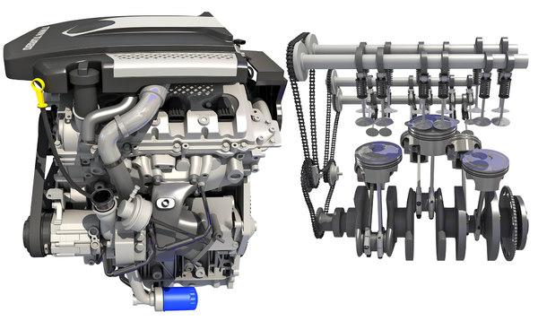 3D model v6 engine