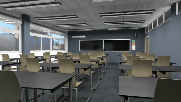 3D classroom scene ready model