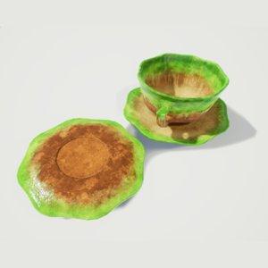 glazed cup saucer teacup 3D