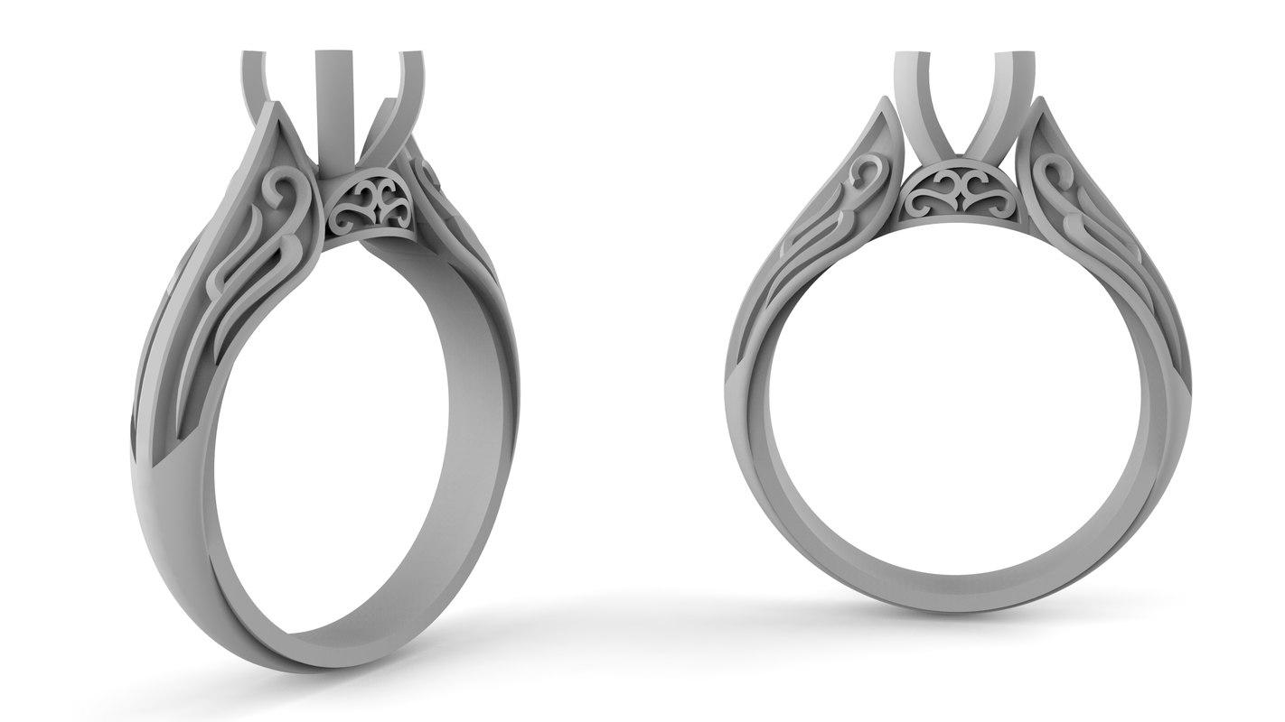 women silver ring diamond 3D model