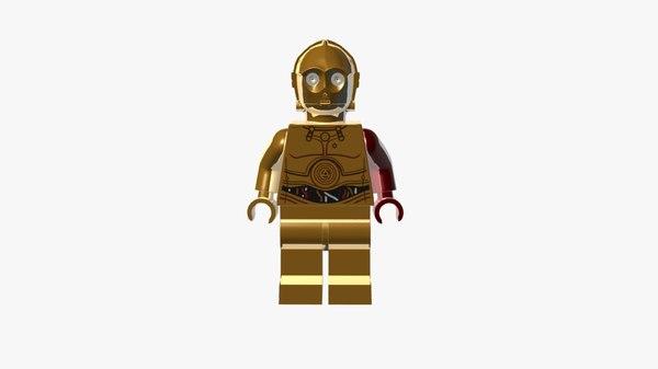 3d obj lego c-3po force awakens