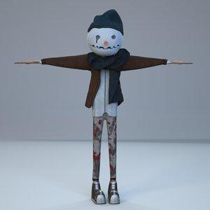 man snow snowman 3D model