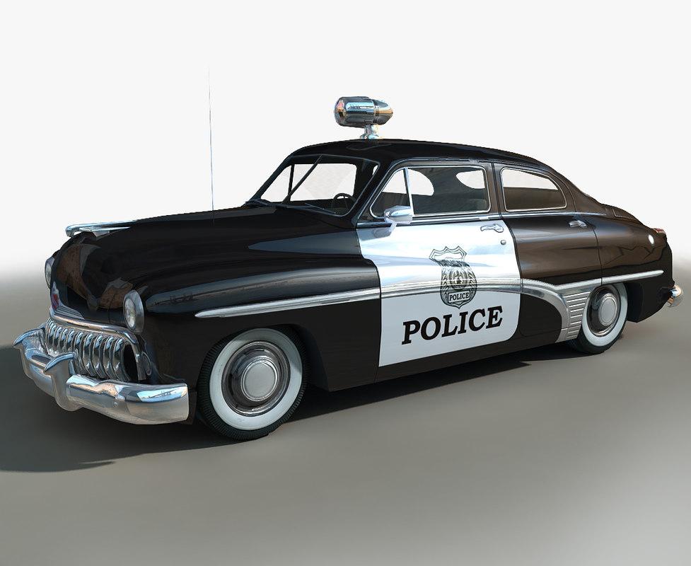 generic retro police cars 3D