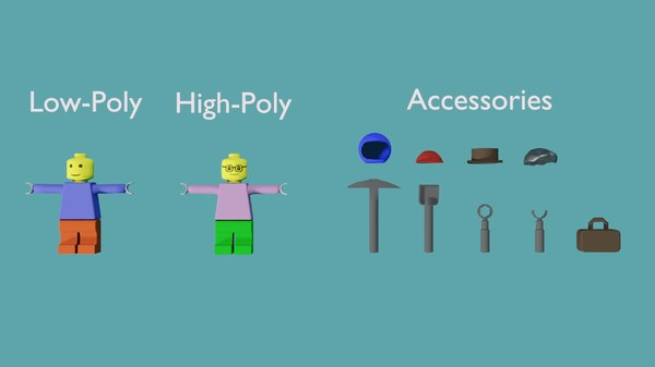 3D model lego characters accessories