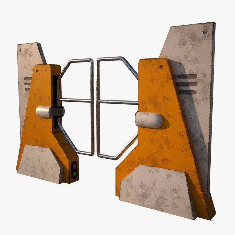 old turnstile post-apocalyptic 3D model