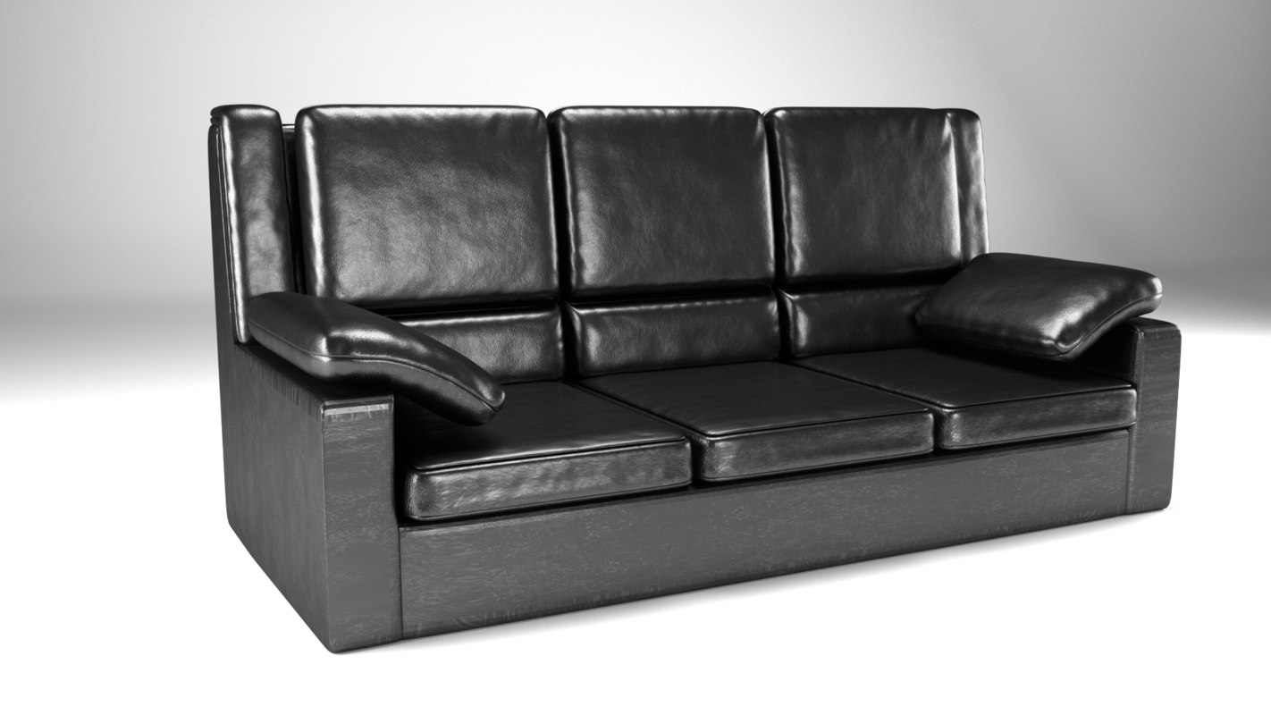 couch leather sofa 3D