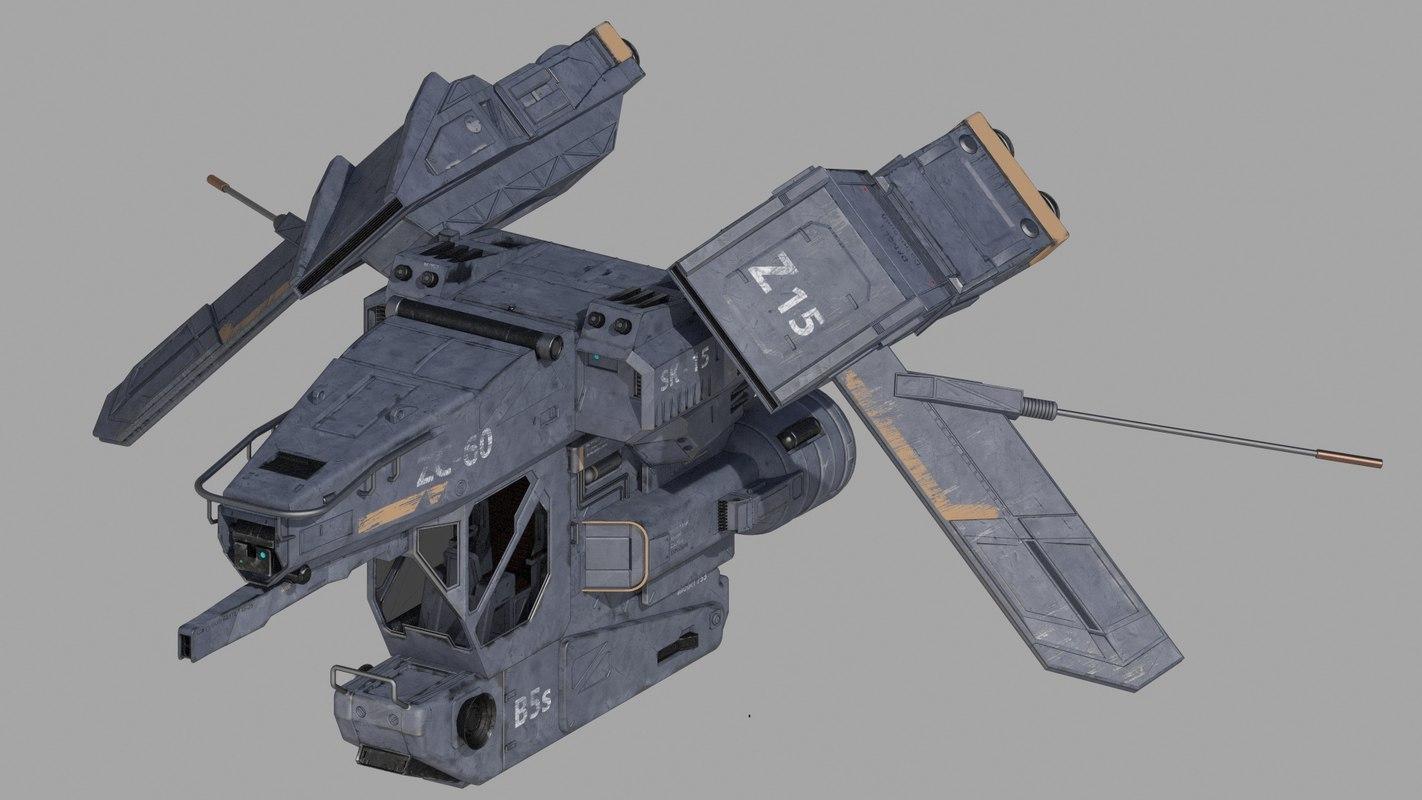 spaceship warship 3D model