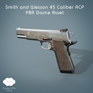 3D pbr smith wesson pistol gun