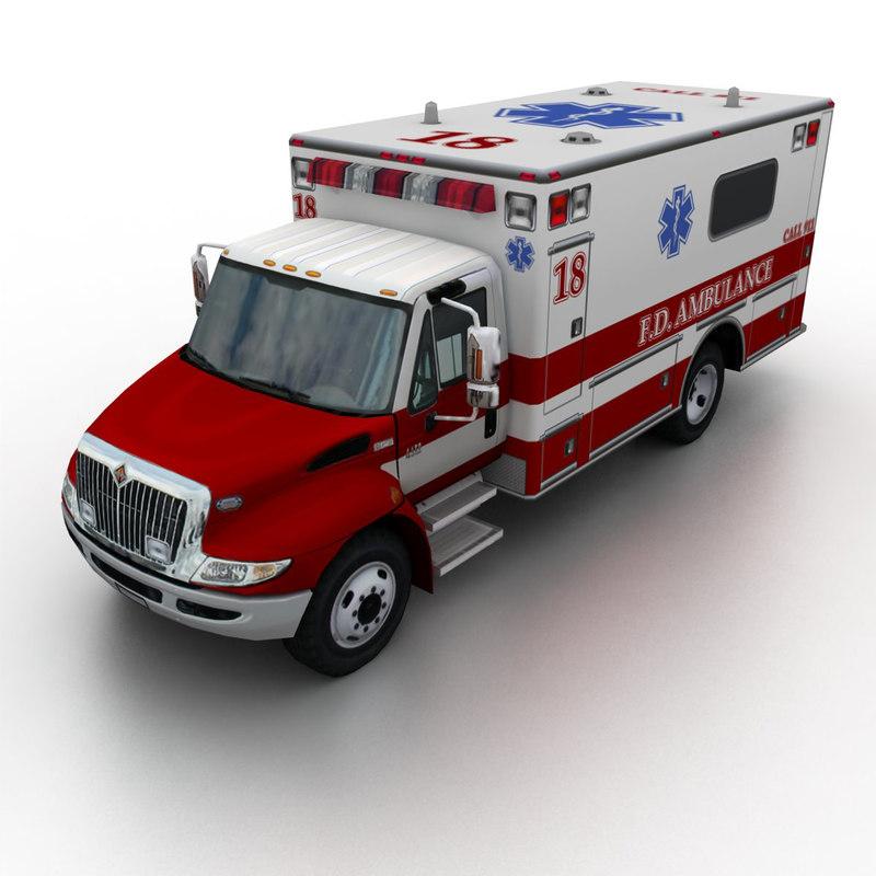 international durastar ambulance 3d 3ds
