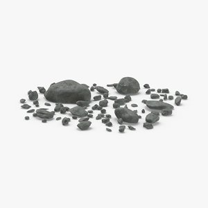 3D scattered-rocks-01 model