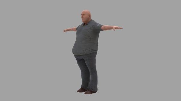 fat guy crowd 3D model