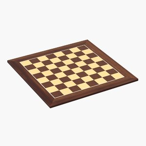 3D model wooden chess board