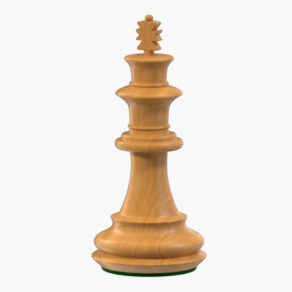 wooden chess king 3D model
