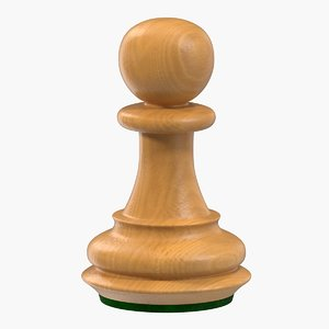 3D model wooden chess pawn