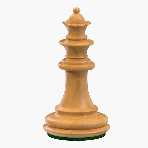 wooden chess queen 3D model