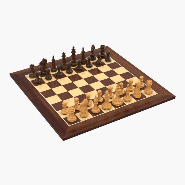 3D wooden chess set