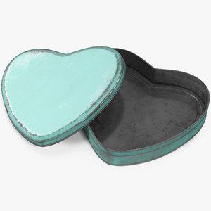 3D heart tin vintage model
