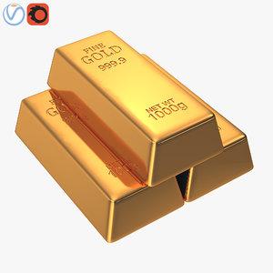 golden bars 3D model