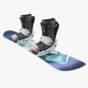 3D jones snowboards snow board model