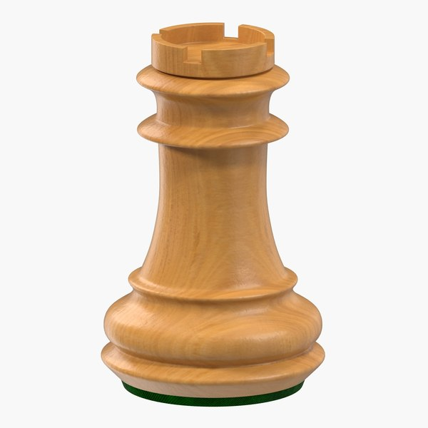 3D wooden chess rook