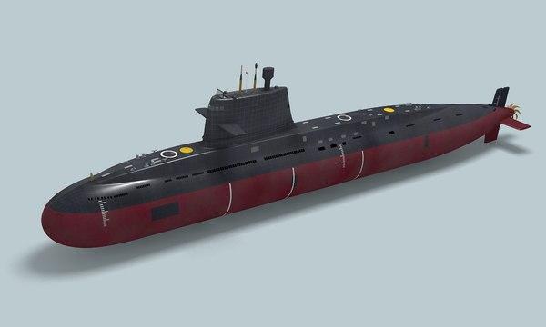 type 093 chinese submarine 3D model