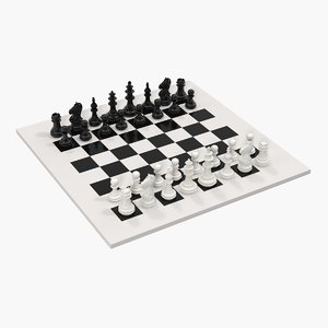 plastic chess pieces set 3D model