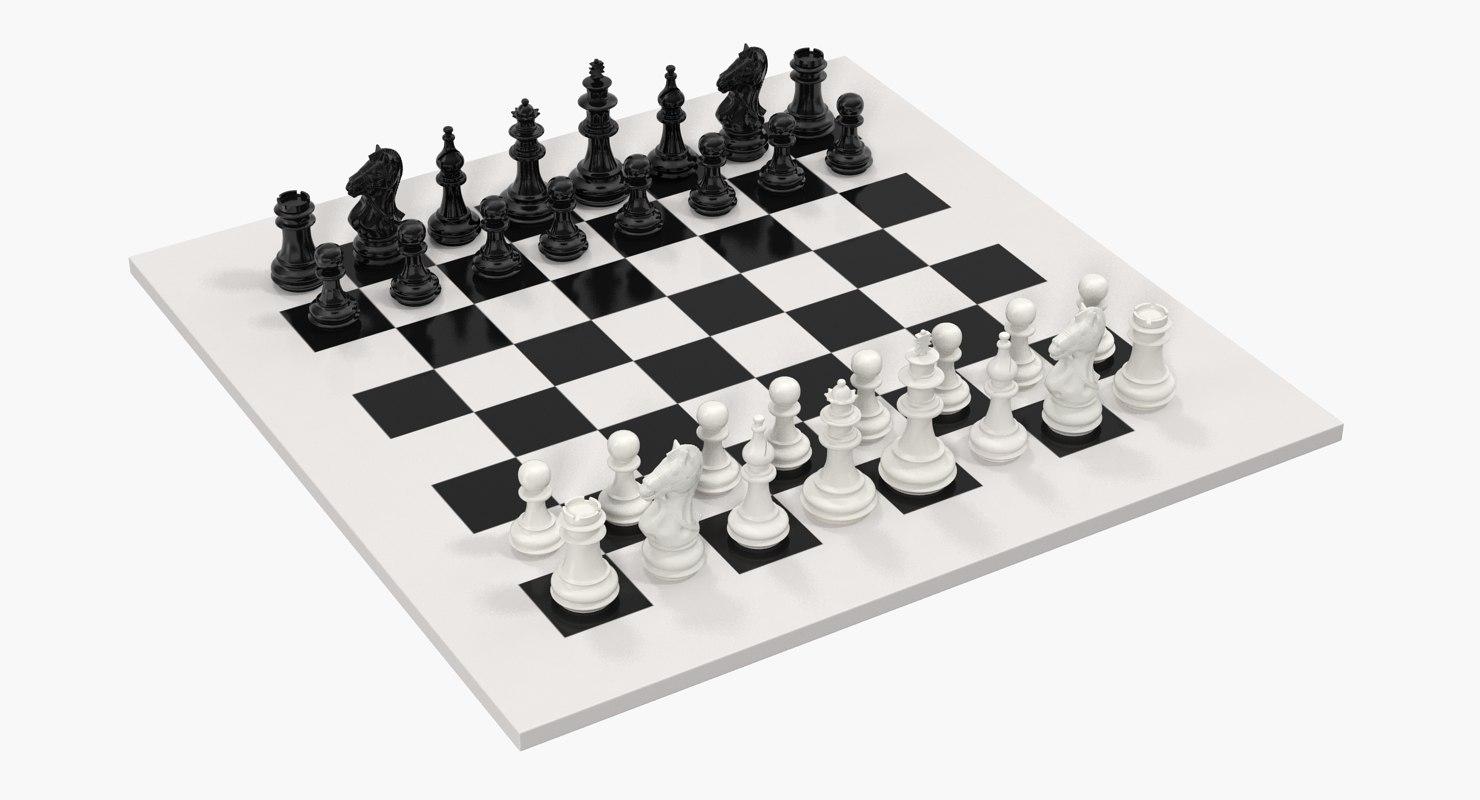 plastic chess pieces set 3D model