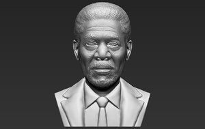 3D morgan freeman bust ready