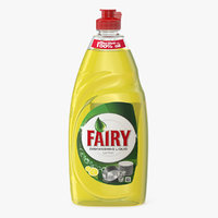 3D lemon dishwashing liquid fairy model